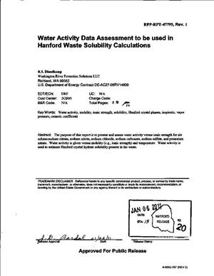 Primary view of object titled 'WATER ACTIVITY DATA ASSESSMENT TO BE USED IN HANFORD WASTE SOLUBILITY CALCULATIONS'.