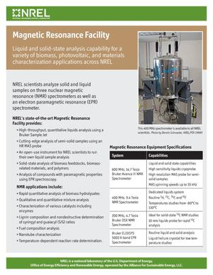 Primary view of object titled 'Magnetic Resonance Facility (Fact Sheet)'.
