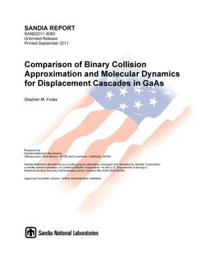 Primary view of object titled 'Comparison of binary collision approximation and molecular dynamics for displacement cascades in GaAs.'.