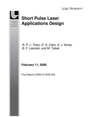 Primary view of object titled 'Short Pulse Laser Applications Design'.