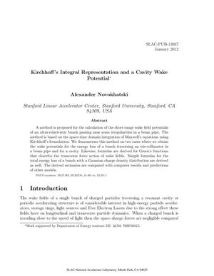 Primary view of object titled 'Kirchhoff's Integral Representation and a Cavity Wake Potential'.