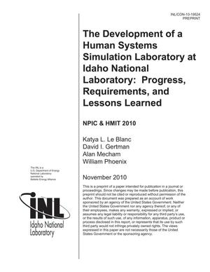 Primary view of object titled 'The Development of a Human Systems Simulation Laboratory at Idaho National Laoboratory: Progress, Requirements and Lessons Learned'.