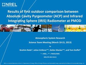 Primary view of object titled 'Results of First Outdoor Comparison Between Absolute Cavity Pyrgeometer (ACP) and Infrared Integrating Sphere (IRIS) Radiometer at PMOD (Presentation)'.