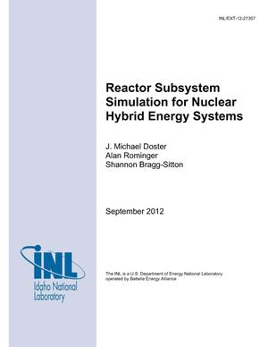 Primary view of object titled 'Reactor Subsystem Simulation for Nuclear Hybrid Energy Systems'.