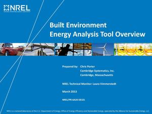 Primary view of object titled 'Built Environment Energy Analysis Tool Overview (Presentation)'.