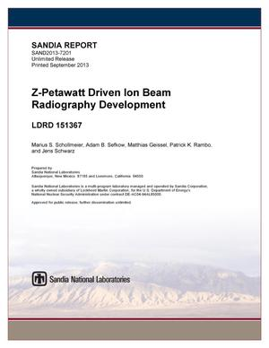 Primary view of object titled 'Z-petawatt driven ion beam radiography development.'.