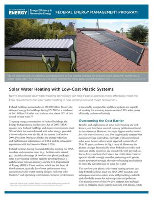 Primary view of object titled 'Solar Water Heating with Low-Cost Plastic Systems (Brochure)'.