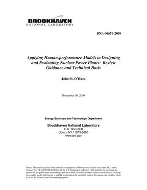 Primary view of object titled 'Applying Human-performance Models to Designing and Evaluating Nuclear Power Plants: Review Guidance and Technical Basis'.