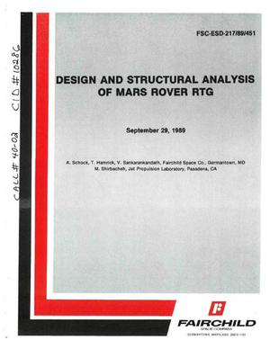 Primary view of object titled 'Design and Structural Analysis of Mars Rover RTG'.