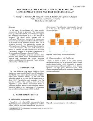 Primary view of object titled 'Development of Modulator Pulse Stability Measurement Device and Test Results at SLAC'.