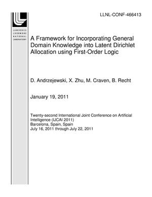 Primary view of object titled 'A Framework for Incorporating General Domain Knowledge into Latent Dirichlet Allocation using First-Order Logic'.
