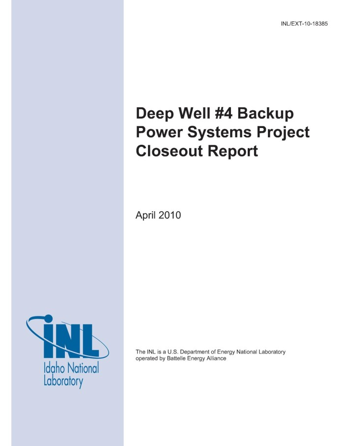 Deep Well  Backup Power Systems Project Closeout Report  Digital