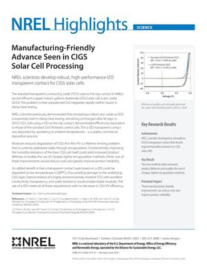 Primary view of object titled 'Manufacturing-Friendly Advance Seen in CIGS Solar Cell Processing (Fact Sheet)'.