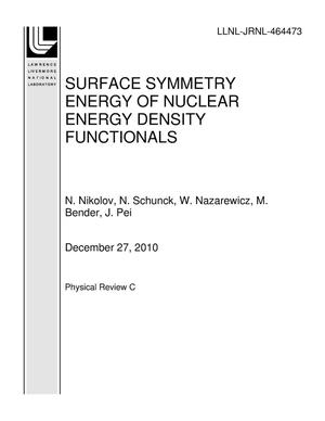 Primary view of object titled 'SURFACE SYMMETRY ENERGY OF NUCLEAR ENERGY DENSITY FUNCTIONALS'.