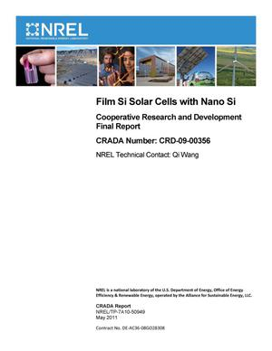 Primary view of object titled 'Film Si Solar Cells with Nano Si: Cooperative Research and Development Final Report, CRADA Number CRD-09-00356'.