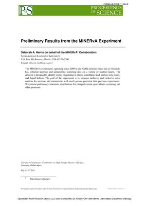 Primary view of object titled 'Preliminary results from the MINERvA experiment'.
