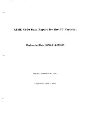 Primary view of object titled 'ASME Code Data Report for the CC Cryostat'.