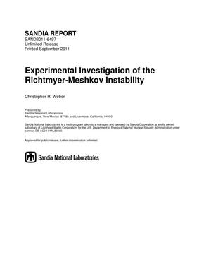 Primary view of object titled 'Experimental investigation of the Richtmyer-Meshkov instability.'.