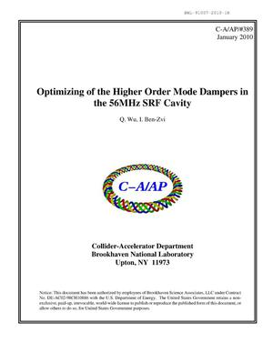 Primary view of object titled 'Optimizing of the higher order mode dampers in the 56MHz SRF cavity'.