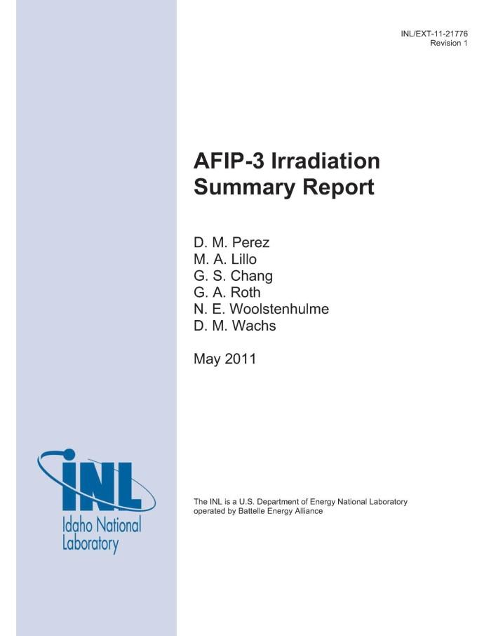 AFIP-3 Irradiation Summary Report - Digital Library