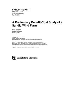Primary view of object titled 'A preliminary benefit-cost study of a Sandia wind farm.'.