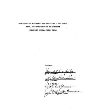 Primary view of object titled 'Relationship of Achievement and Personality in the Fourth, Fifth, and Sixth Grades of the Northwest Elementary School, Justin, Texas'.