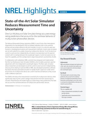 Primary view of object titled 'State-of-the-Art Solar Simulator Reduces Measurement Time and Uncertainty (Fact Sheet)'.