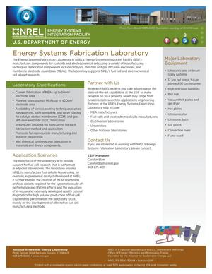 Primary view of object titled 'Energy Systems Fabrication Laboratory (Fact Sheet)'.