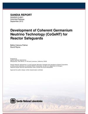 Primary view of object titled 'Development of coherent germanium neutrino technology (CoGeNT) for reactor safeguards.'.