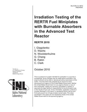 Primary view of object titled 'IRRADIATION TESTING OF THE RERTR FUEL MINIPLATES WITH BURNABLE ABSORBERS IN THE ADVANCED TEST REACTOR'.