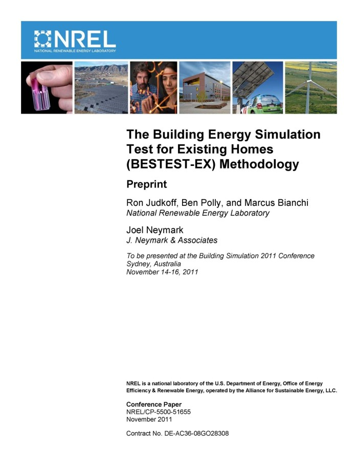 Building Energy Simulation Test for Existing Homes (BESTEST-EX