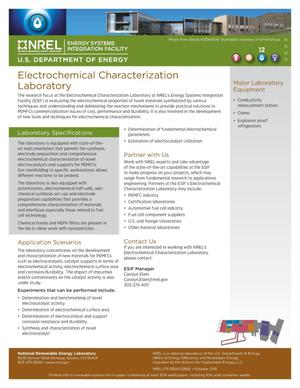 Primary view of object titled 'Electrochemical Characterization Laboratory (Fact Sheet)'.