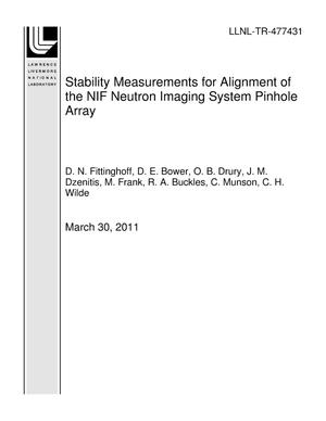 Primary view of object titled 'Stability Measurements for Alignment of the NIF Neutron Imaging System Pinhole Array'.