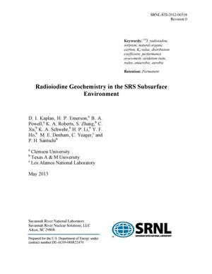 Primary view of object titled 'RADIOIODINE GEOCHEMISTRY IN THE SRS SUBSURFACE ENVIRONMENT'.
