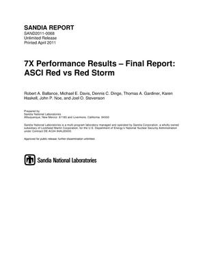 Primary view of object titled '7X performance results - final report : ASCI Red vs Red Storm.'.