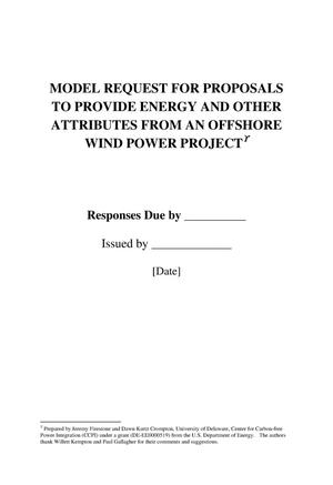 Primary view of object titled 'MODEL REQUEST FOR PROPOSALS TO PROVIDE ENERGY AND OTHER ATTRIBUTES FROM AN OFFSHORE WIND POWER PROJECT'.