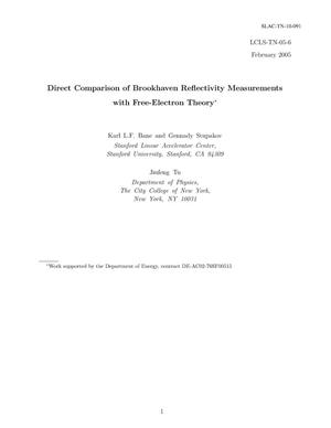 Primary view of object titled 'Direct Comparison of Brookhaven Reflectivity Measurements with Free-Electron Theory'.