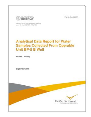 Primary view of object titled 'Analytical Data Report for Water Samples Collected From Operable Unit BP-5 B Well'.