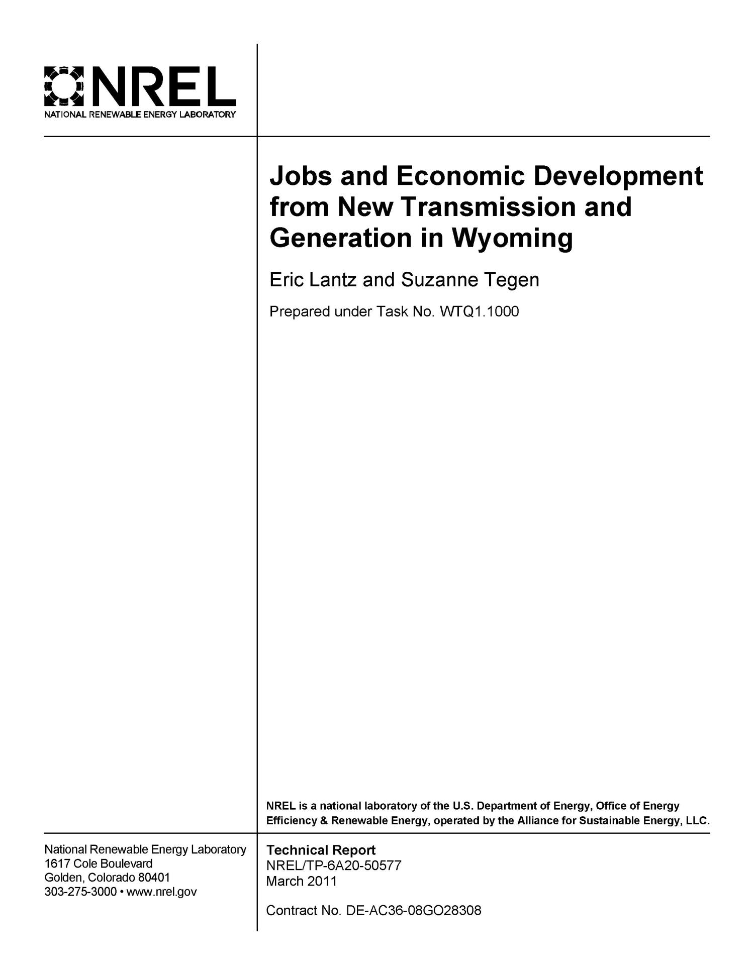 Jobs and Economic Development from New Transmission and Generation in Wyoming                                                                                                      [Sequence #]: 2 of 73