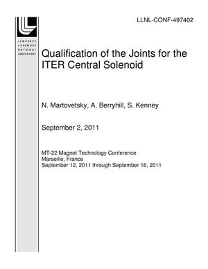 Primary view of object titled 'Qualification of the Joints for the ITER Central Solenoid'.