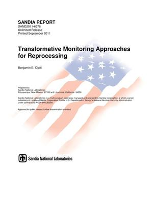 Primary view of object titled 'Transformative monitoring approaches for reprocessing.'.
