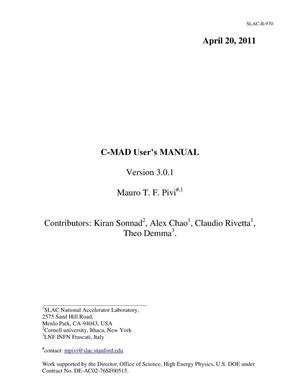Primary view of object titled 'C-MAD User's Manual'.
