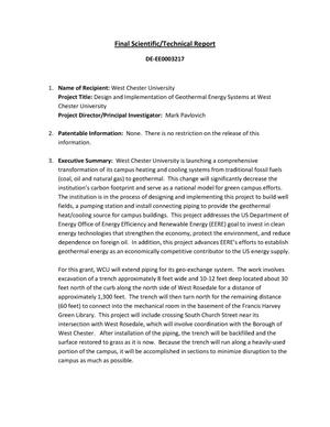 Primary view of object titled 'Design and Implementation of Geothermal Energy Systems at West Chester University'.