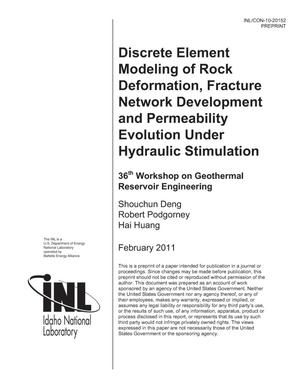Primary view of object titled 'Discrete element modeling of rock deformation, fracture network development and permeability evolution under hydraulic stimulation'.