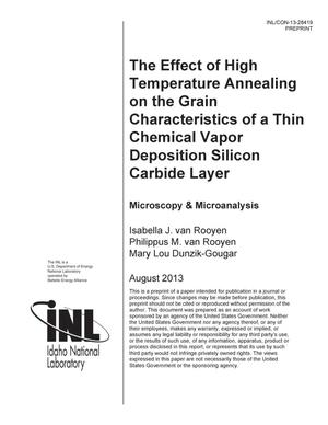 Primary view of object titled 'The Effect of High Temperature Annealing on the Grain Characteristics of a Thin Chemical Vapor Deposition Silicon Carbide Layer.'.