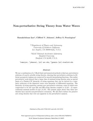 Primary view of object titled 'Non-Perturbative String Theory from Water Waves'.