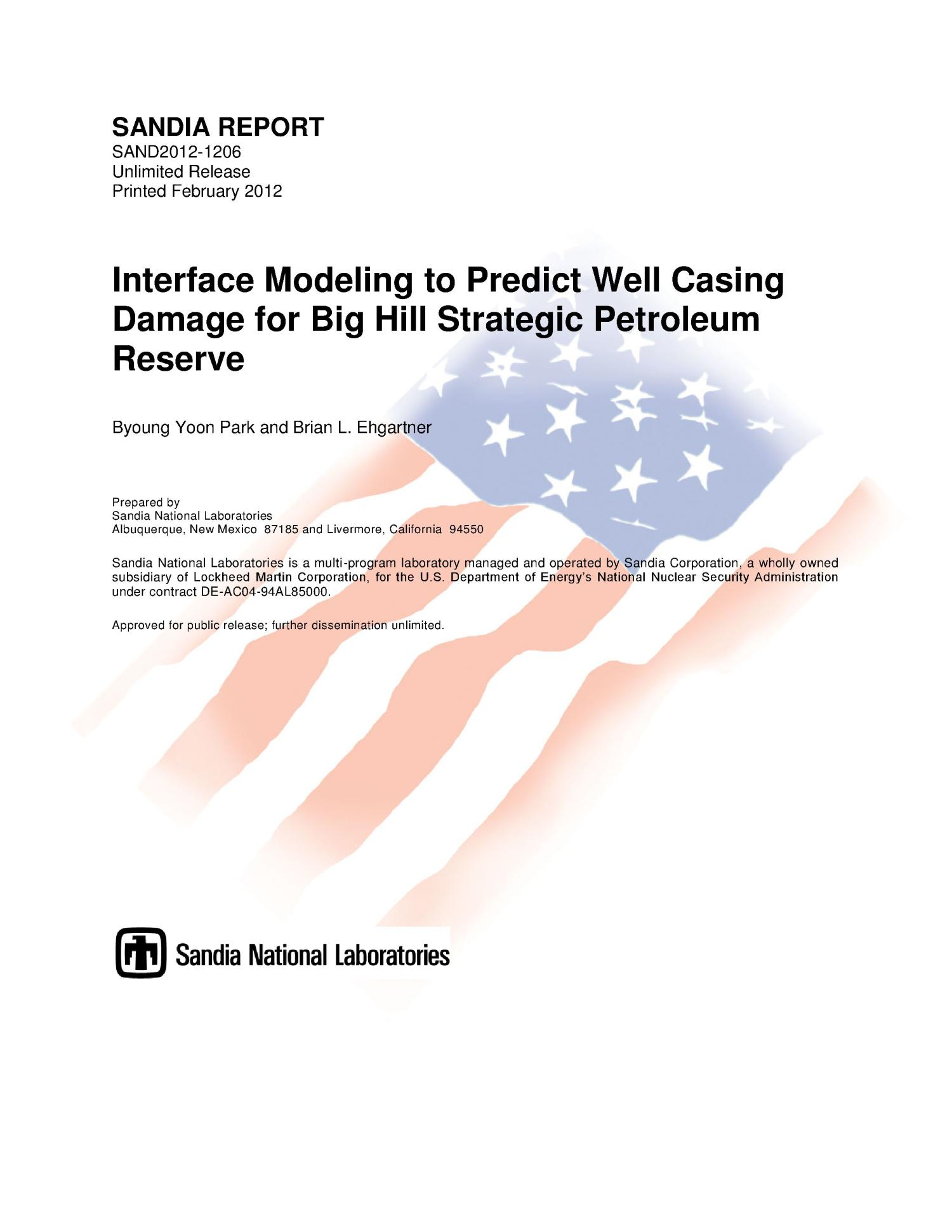 Interface modeling to predict well casing damage for big hill strategic petroleum reserve.                                                                                                      [Sequence #]: 1 of 49