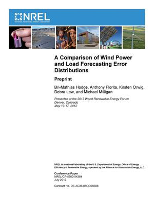 Primary view of object titled 'Comparison of Wind Power and Load Forecasting Error Distributions: Preprint'.