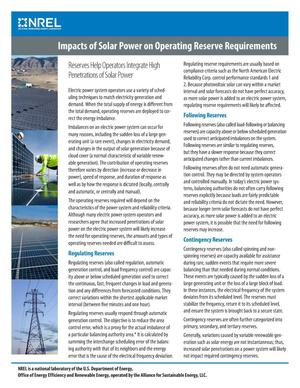 Primary view of object titled 'Impacts of Solar Power on Operating Reserve Requirements (Fact Sheet)'.