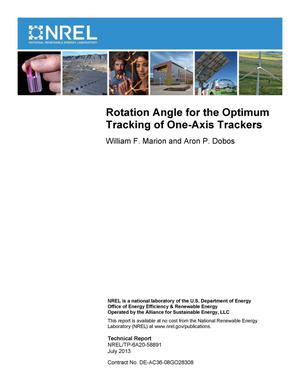Primary view of object titled 'Rotation Angle for the Optimum Tracking of One-Axis Trackers'.